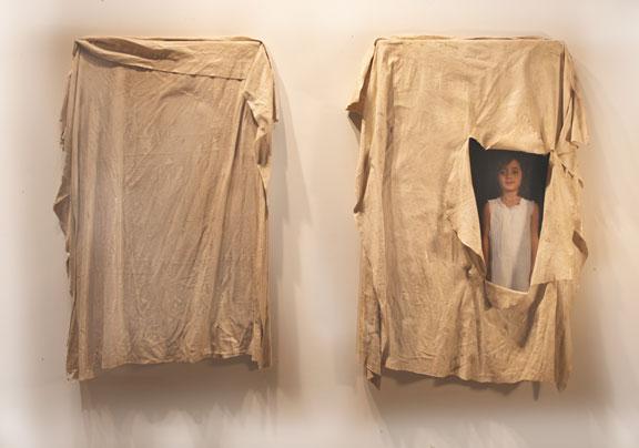 """Unseen / Seen, Diptych, 2011, 47"""" X 32"""" X 5"""" each, Mixed Media/Resin (Samantha) (sold)"""
