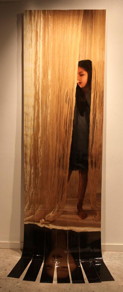 "Unravel, 2011, 130""x35"", Mixed Media/Canvas (Nicole)"