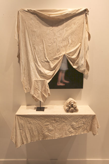 """Veiled II Installation, 2011, 42"""" X 32"""" X 5"""" painting, 36"""" X 12"""" X 13"""" shelf + objects, Mixed Media/Resin (Samantha) (sold)"""