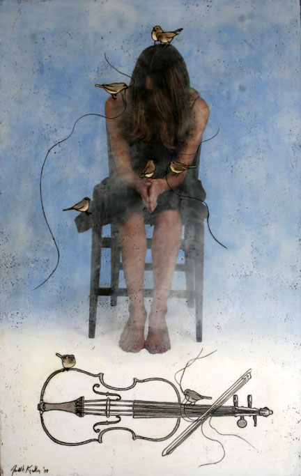 """This is Not My Violin"""", 2009, 60"""" X 36"""", Mixed Media/Encaustic (Simone) (sold)"""