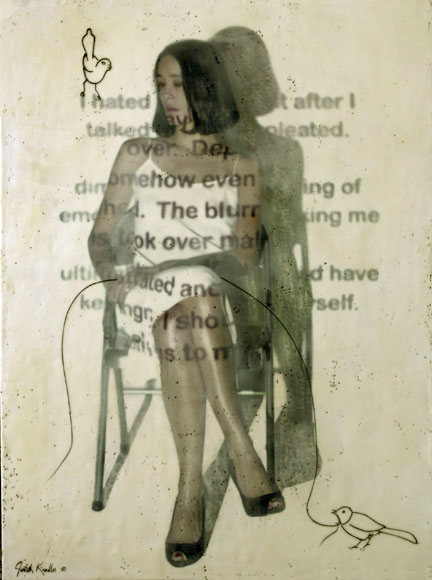 "Seated Beauty, 2010, 48""x36""  ,Mixed Media/Encaustics   (Simone) (sold)"