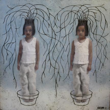 "Rooted, 2007,  48""x48""  Mixed Media/Encaustics (Sarah)"