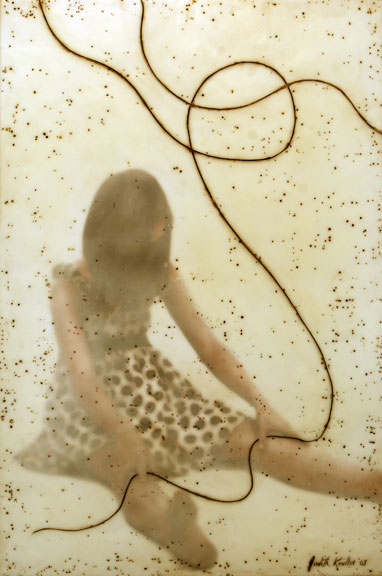 """It's Only a Thread Little Girl , 2008, 36"""" x 24"""",  Mixed Media/Encaustic (Sarah)  (sold)"""