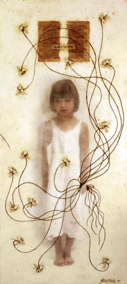 "Harm No One, 2007, 36""x80"", Mixed Media/Encaustic (Sarah)  (sold)"