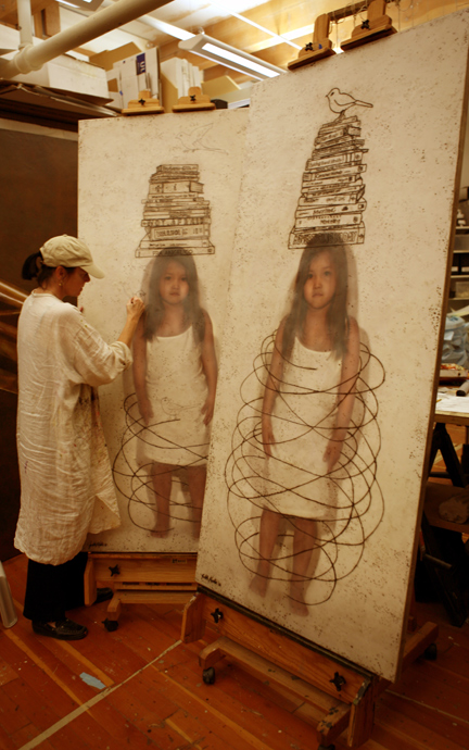 """Judith Kindler in the studio working on """"Consumer I and II"""" 2006"""
