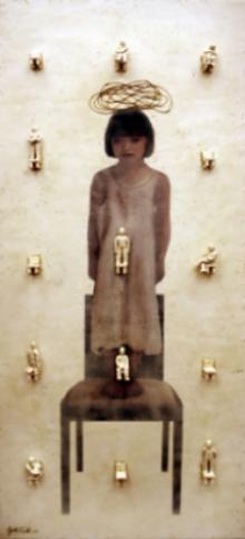 """Observing Life  , 2007, 80"""" x 36"""",  Mixed Media/Encaustic (Sarah)  (sold)"""
