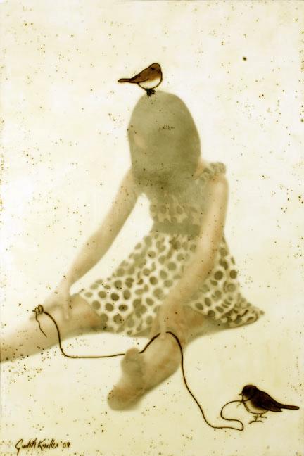 "My Little Bird, 2008, 36"" x 24"", Mixed Media/Encaustic (Sarah) (sold)"