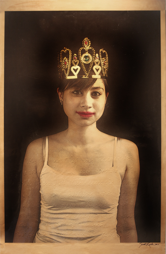 """Messy Crowned Girl , 2011, Mixed Media on Canvas 70"""" X 36 (sold)"""