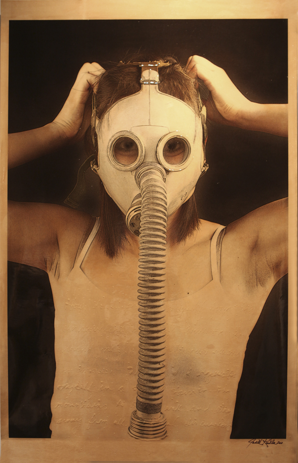 """Hiding Behind a Mask , 2011, Mixed Media on Canvas 70"""" X 36 (sold)"""
