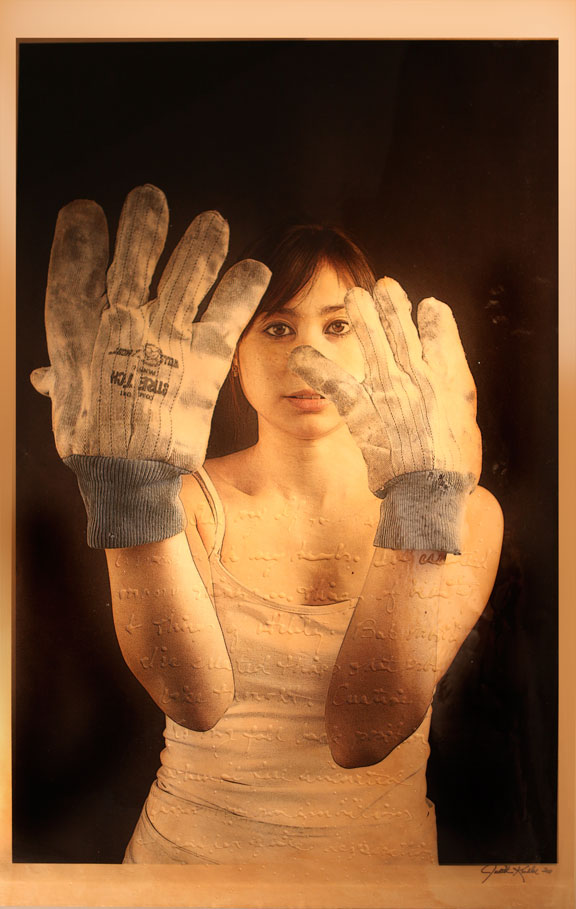 """These Hands, 2011, Mixed Media on Canvas 70"""" X 36 (sold)"""