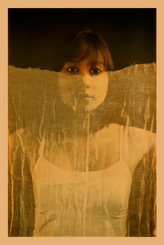 """Girl with Veil, 2011, Mixed Media on Canvas 70"""" X 36 (sold)"""