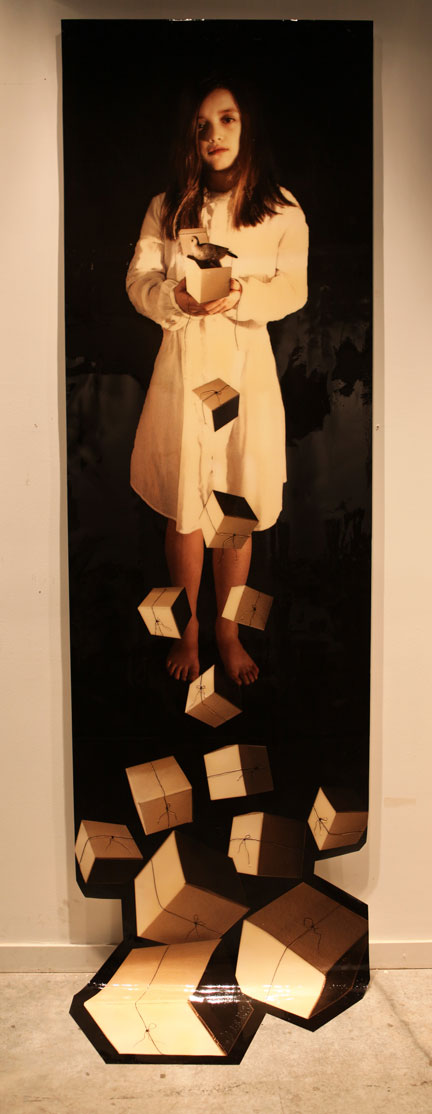 """The Gift, 2011, Mixed Media on Canvas, 130"""" X 35"""