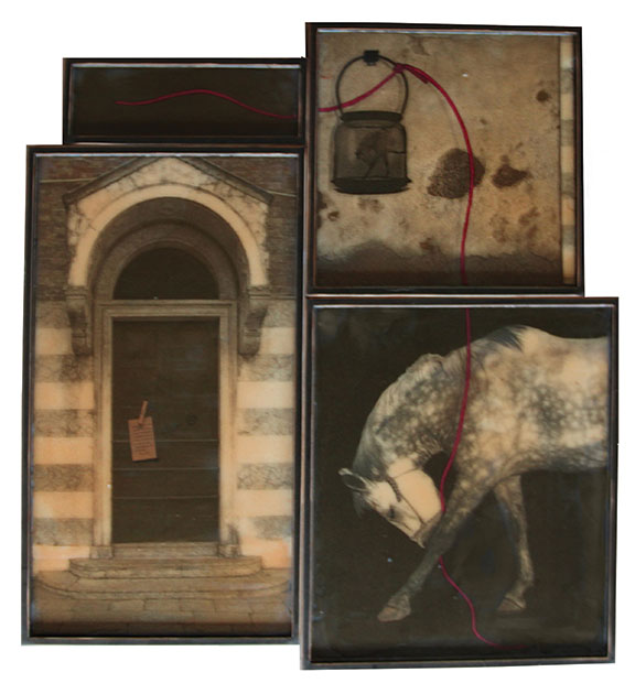 "HomageI, 2012, Mixed Media on 4 panels, 45.25"" X 47.25"