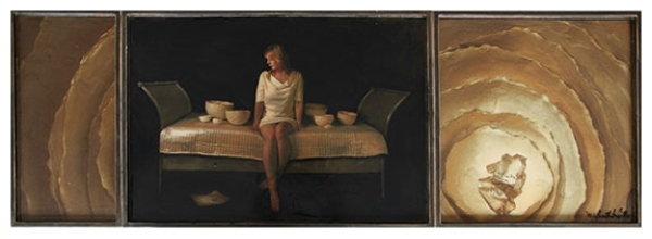 "Quiet, 2012, Mixed Media on 3 panels, 25.5"" X 76 (sold)"