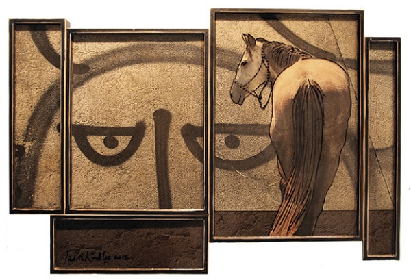 "Voyeur, 2012, Mixed Media on 2 panels, 38"" X 56 (sold)"