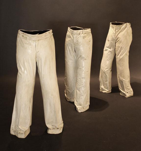 """Empty Pants I, II, and III, 2011, Mixed Media, approximately 43"""" X 23"""" 12 (II and III are sold)"""