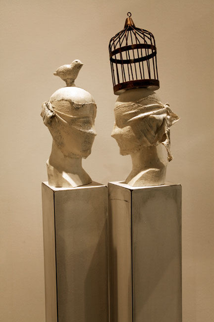 """It Seems Like you Really See Me, 2011, Mixed Media including Pedestals and Bas,e 60"""" X 17.5"""" X 9"""" (sold)"""
