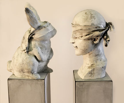 """It Seems Like you Really See Me,2011,Mixed Media including Pedestals and Base 60"""" X 17.5"""" X 9""""  (sold)"""