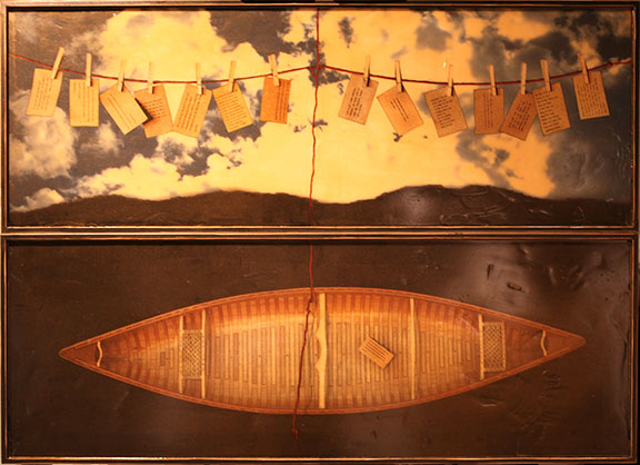 "Voyage II, 2012, Mixed Media on 2 panels, 51.25"" X 66.25"" (sold)"