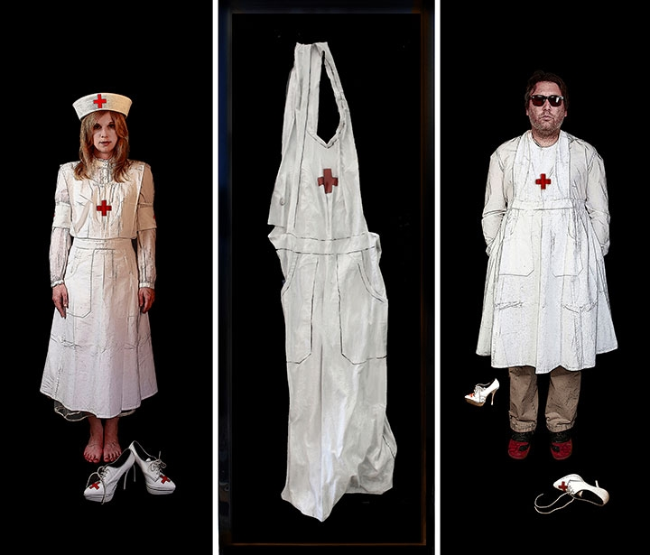 "The Nurse, 2013, Mixed Media on 3 panels, 57.5"" X 63.5"""