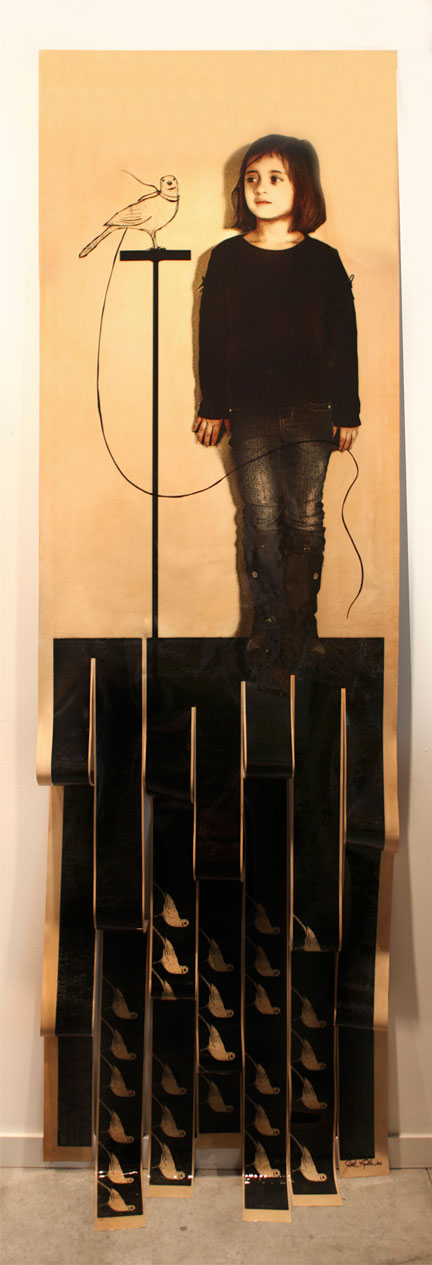 "Goodbye Little Bird, 2011, Mixed Media on Canvas, 130"" X 36"""