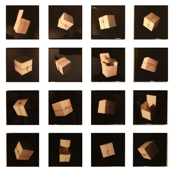"""Boxed Up, 2012, Mixed Media on 16 Panels each 12"""" X 12"""""""