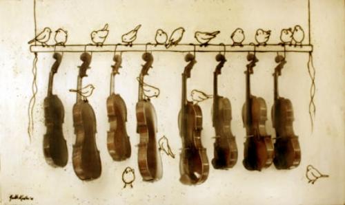 """Observing the Violins, 2009, Mixed Media, 36 """" X 60"""""""