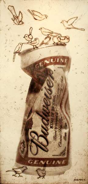 "Budweiser I, 2006, Mixed Media, 80"" X 36"""