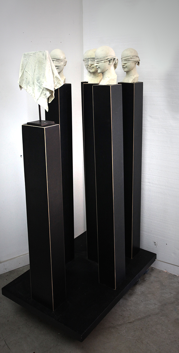 """Observing Nothing,2011,Mixed Media including pedestals and Base 59"""" X 36"""" X 22.5""""  (sold)"""