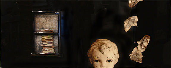 """""""Writer's Block"""" 2014, 24"""" X 60"""", Mixed Media embedded in resin"""