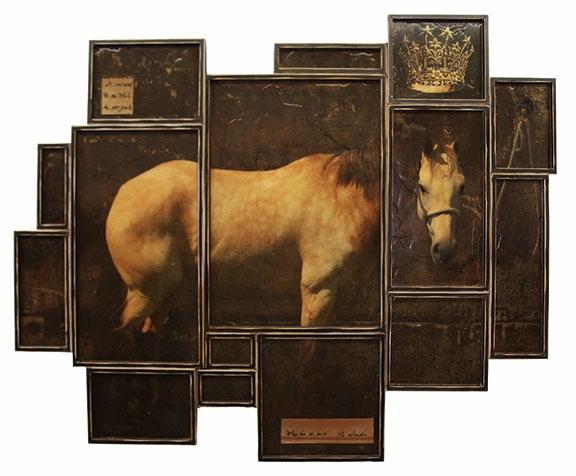 "Royal, 2012, Mixed Media on 15 panels, 53"" X 71.5"""