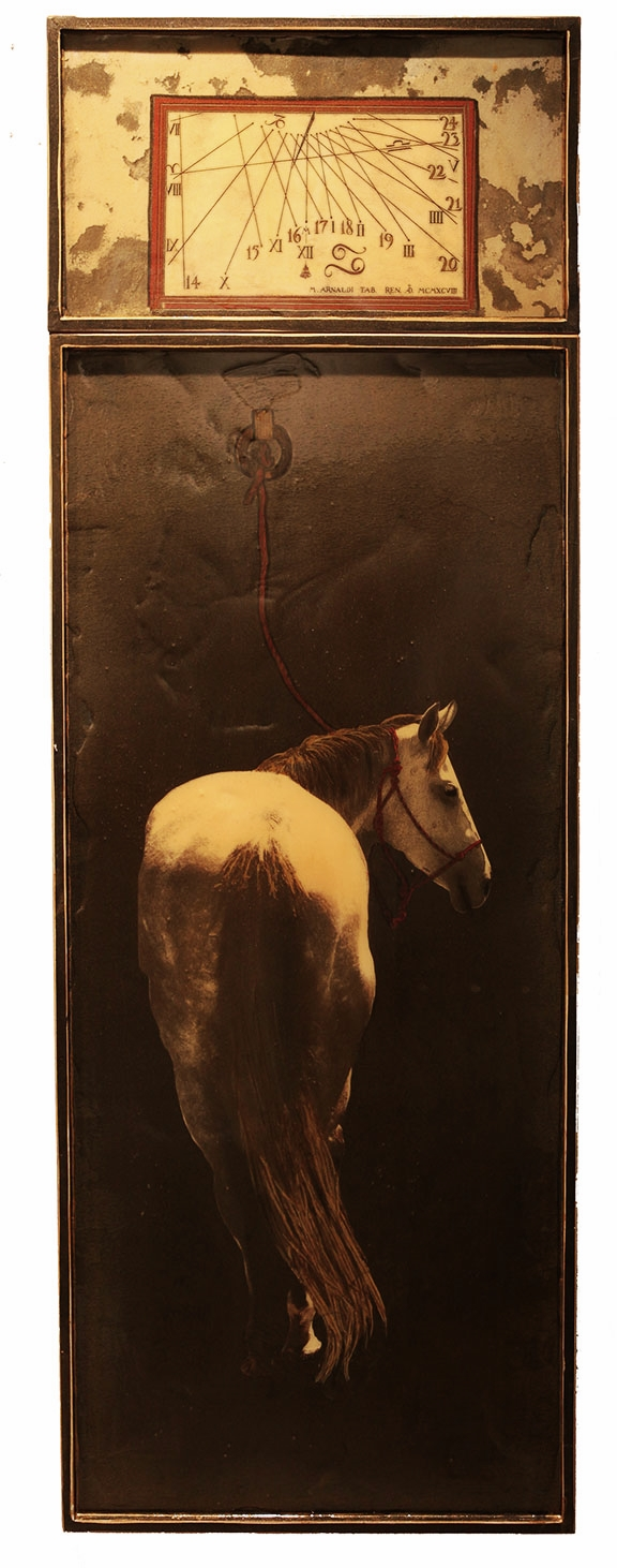 """Time to Go, 2012, Mixed Media on 2 panels, 75.25"""" X 25"""""""