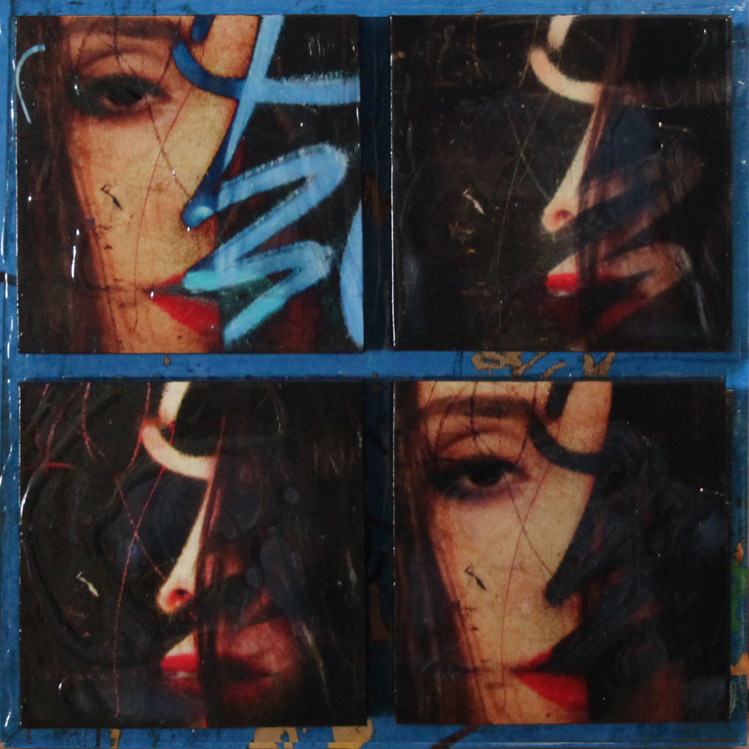 """""""Obscured"""", Mixed Media on 5 connected panels, 2015, 18""""x 18"""" (Sold )"""