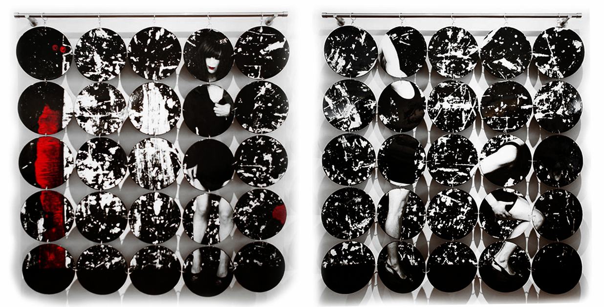 """Obscured I and II, 2015, 5'3"""" x 5' each, Mixed Media - 25 panels suspended by metal rod and linked together each."""