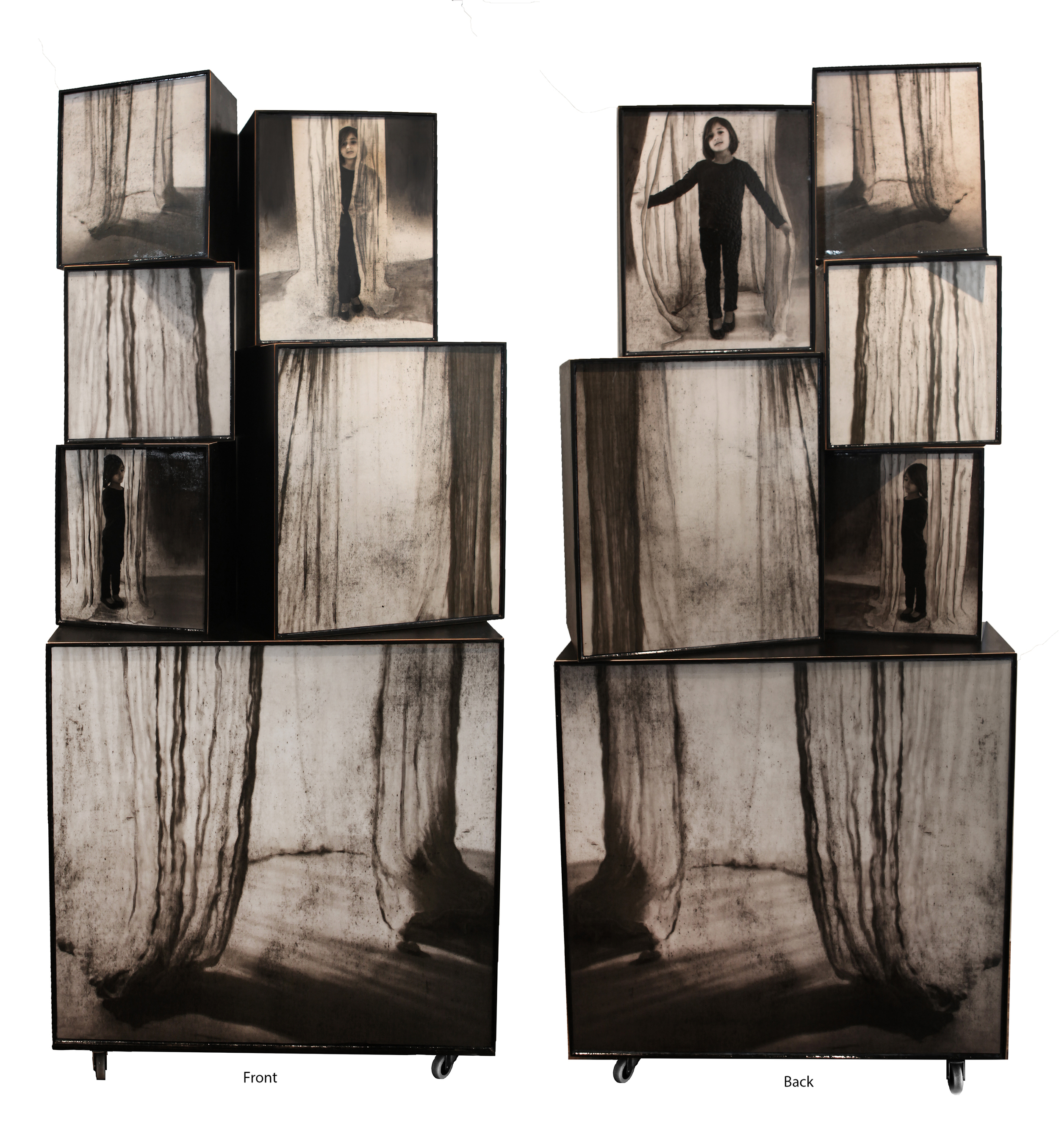 """Shroud, 2015, 75.75"""" x 34"""" x 17.5"""", Mixed Media on constructed wooden boxes on wheels"""