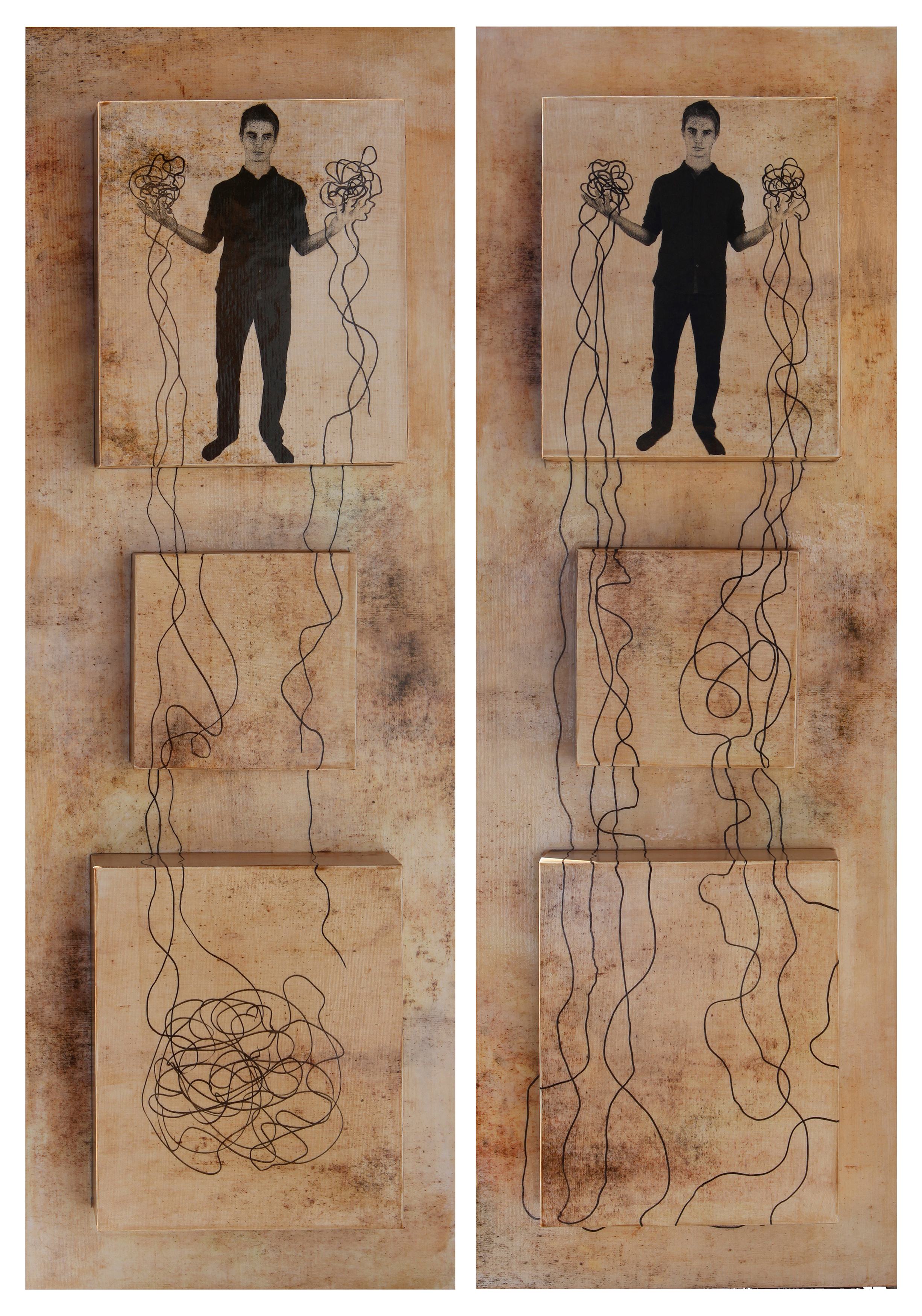 """It's Complex I and II, 2015, Mixed Media on 4 attached panels each, 36"""" x 12"""" each"""