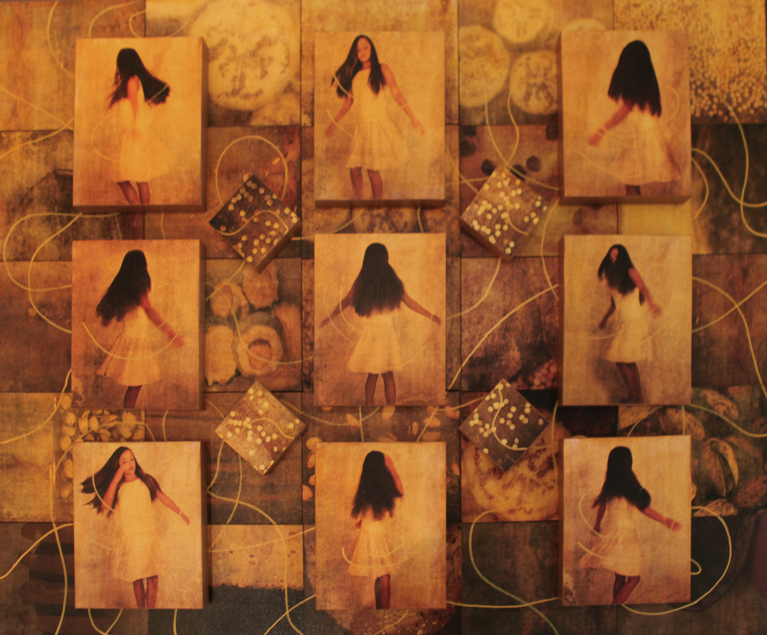 """Dance, 2015, Mixed Media on 38 Attached Panels, 40"""" x 50"""" (Anna)"""