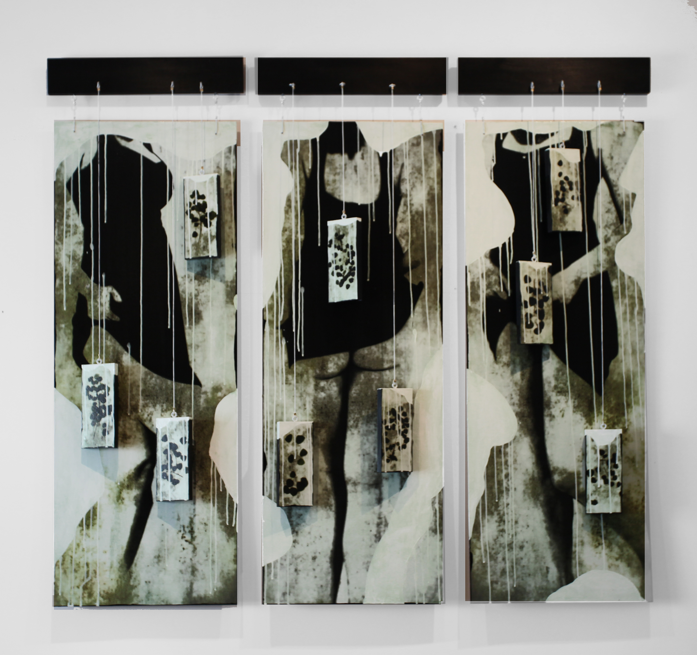"""Icing on the Cake Triptych, 2016, Mixed Media with suspended Objects, Each Panel 54"""" X 18"""""""
