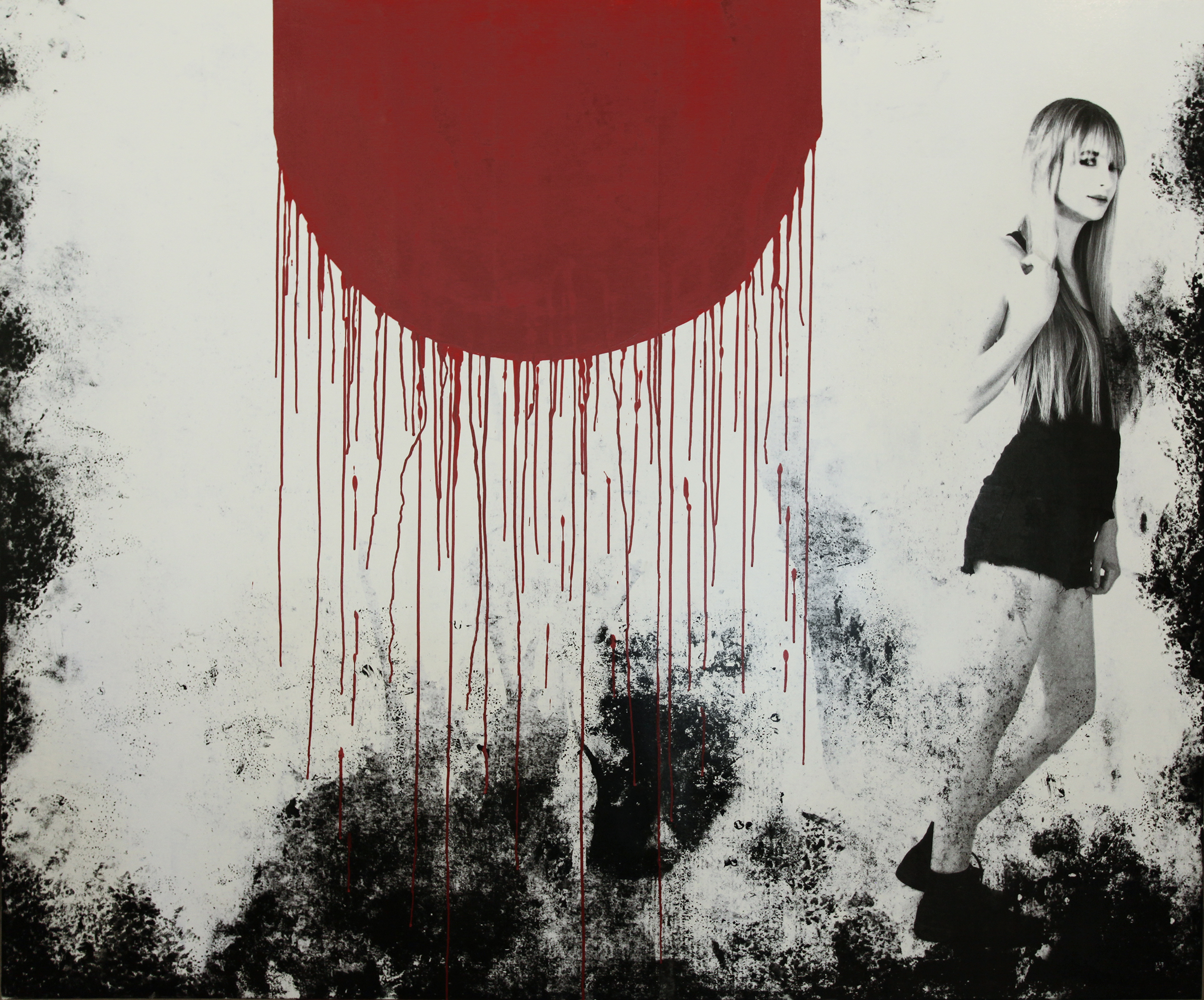 """Red, 2016, Mixed Media on Panel, 60"""" X 72"""""""
