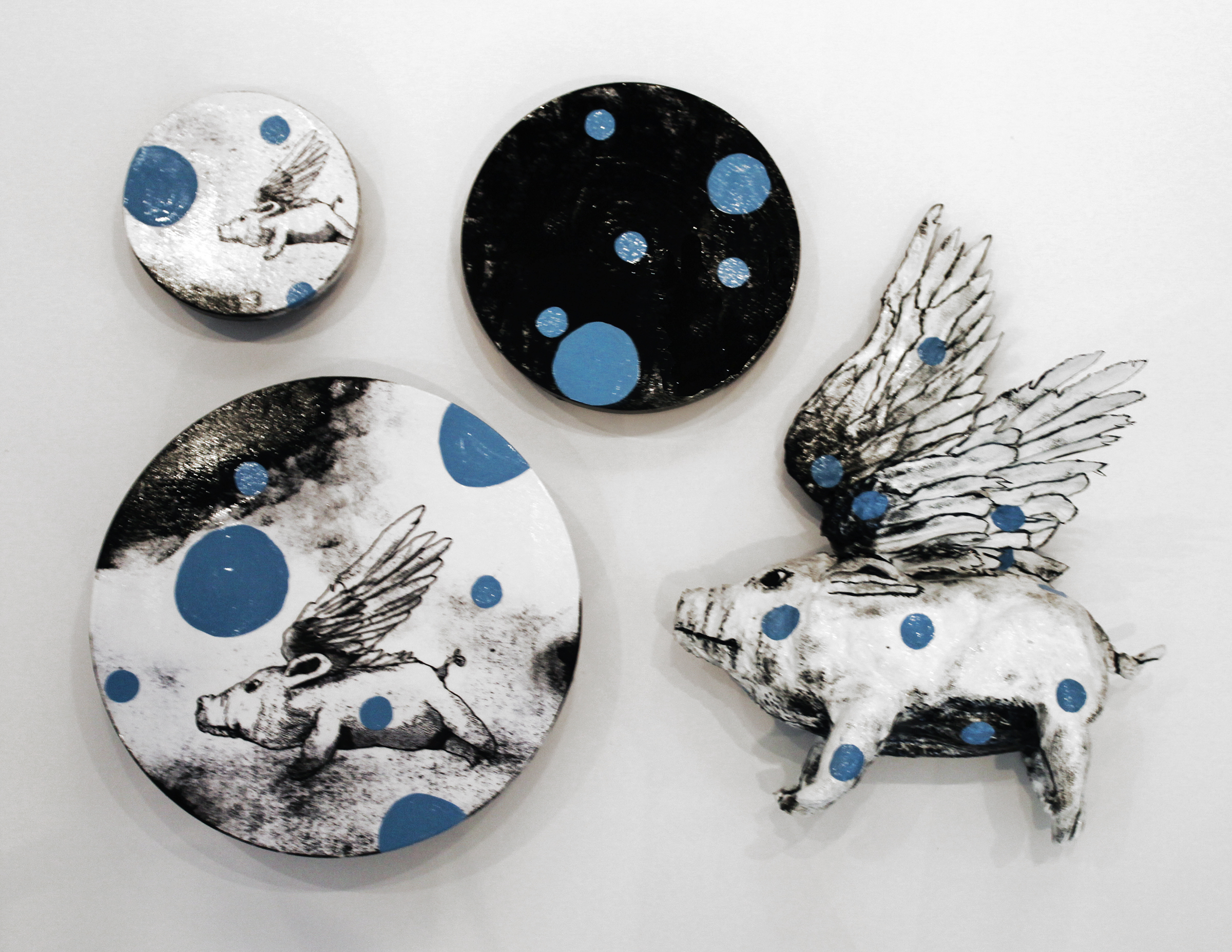 """When Pigs Fly Installation, 2016, Mixed Media on 3 panels 8"""", 12"""" and 16"""" and Pig sculpture 24""""H x 17""""W x 14""""D"""