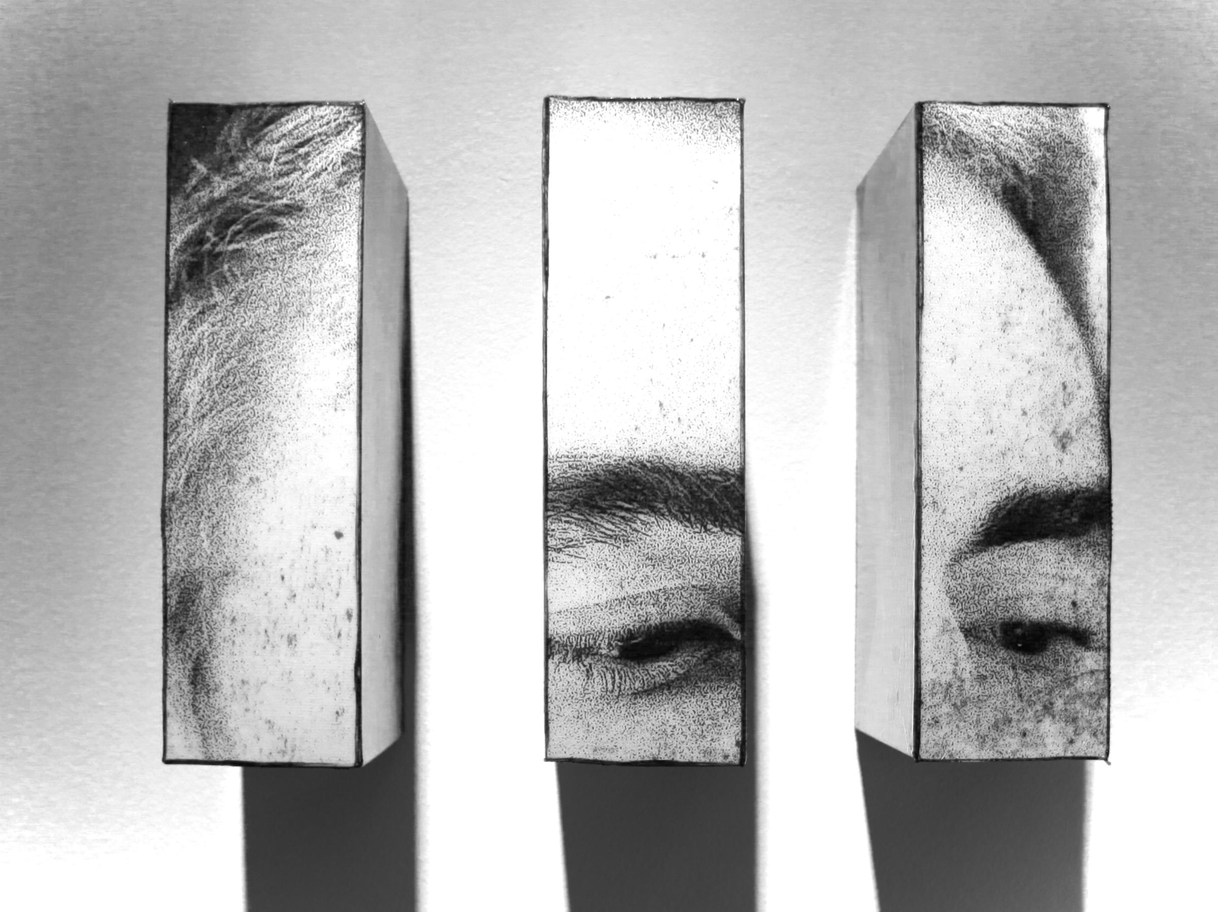 "Admirer I triptych, 2016, Mixed Media. 8"" x 10"" x 4"""