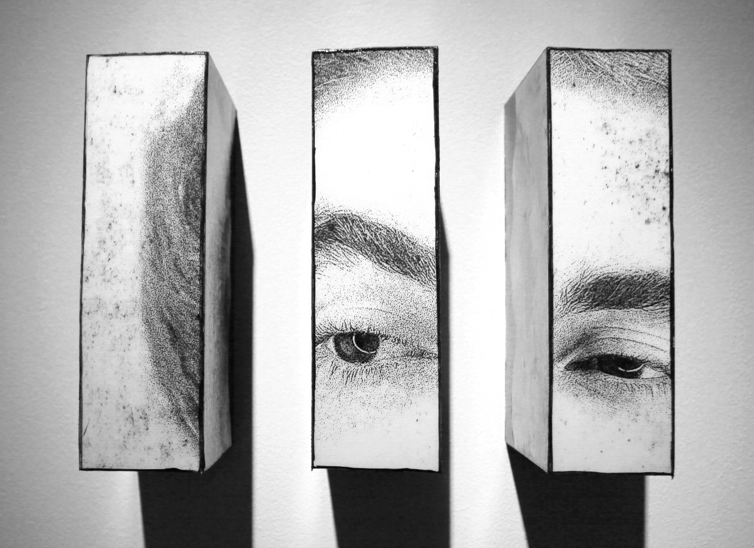 "Admirer II triptych, 2016, Mixed Media. 8"" x 10"" x 4"""