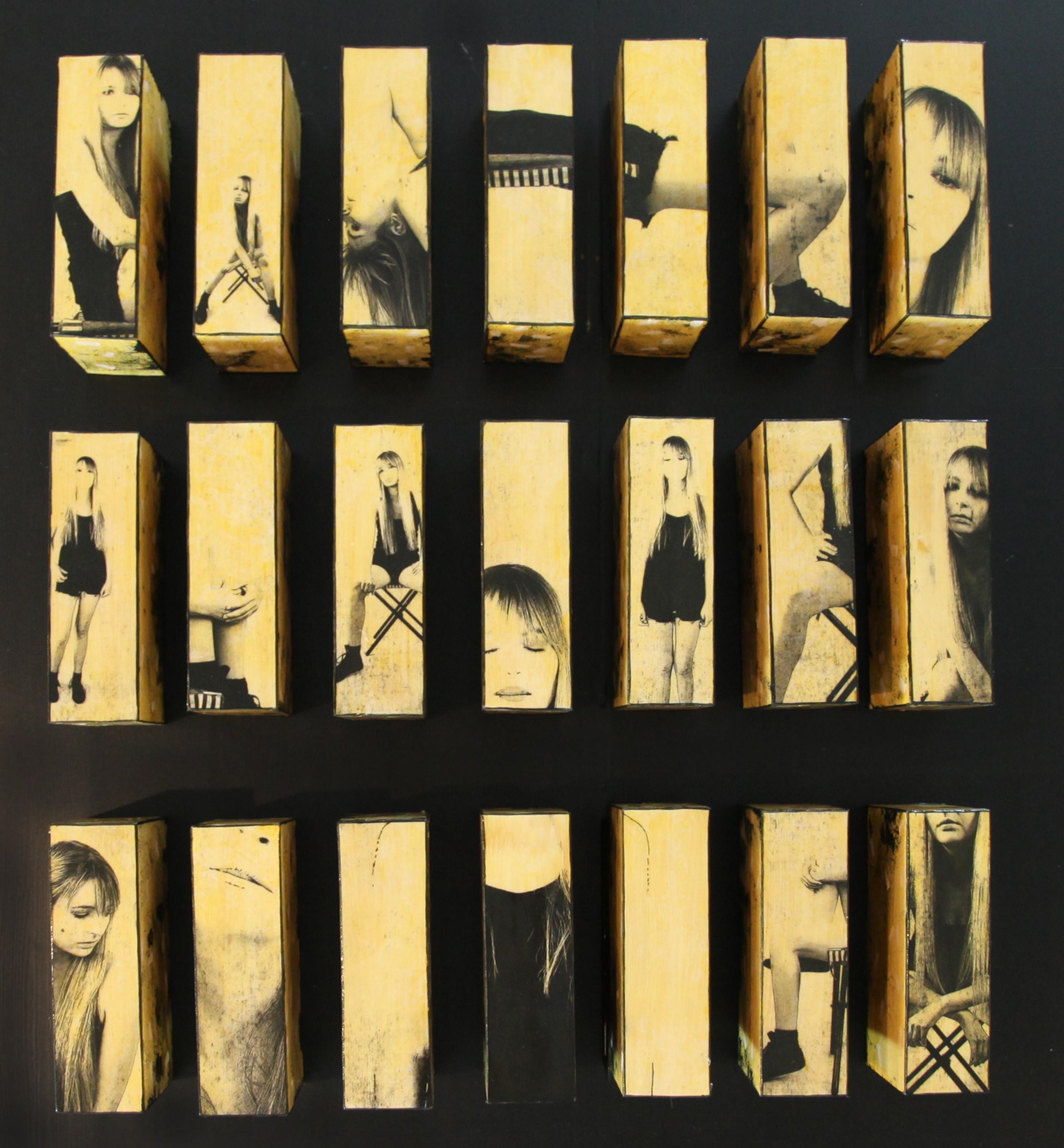 "Twenty One, 2016, Mixed Media Installation of 21 panels 28""H X 24.5"" X 4"""