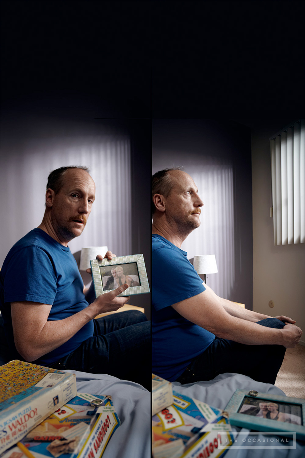 """White shows off a photograph of him and his wife. They were never officially divorced. """"She tried to file the paperwork. Hired an attorney and everything. But every time she mailed any files I needed to sign, the post office would return to sender. I know this because from 2002 to 2004, she would stand out in the street screaming 'Just come out and show yourself, you coward! You can't live like this forever!' I'd like to think I showed her."""""""