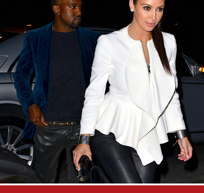 Kim and Kanye head off to a leather pants party.