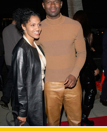 Brian out on the town with his wife, seen here wearing her water-resistant pants.