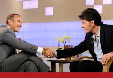 Matt Lauer congratulates Sheen on not dying.