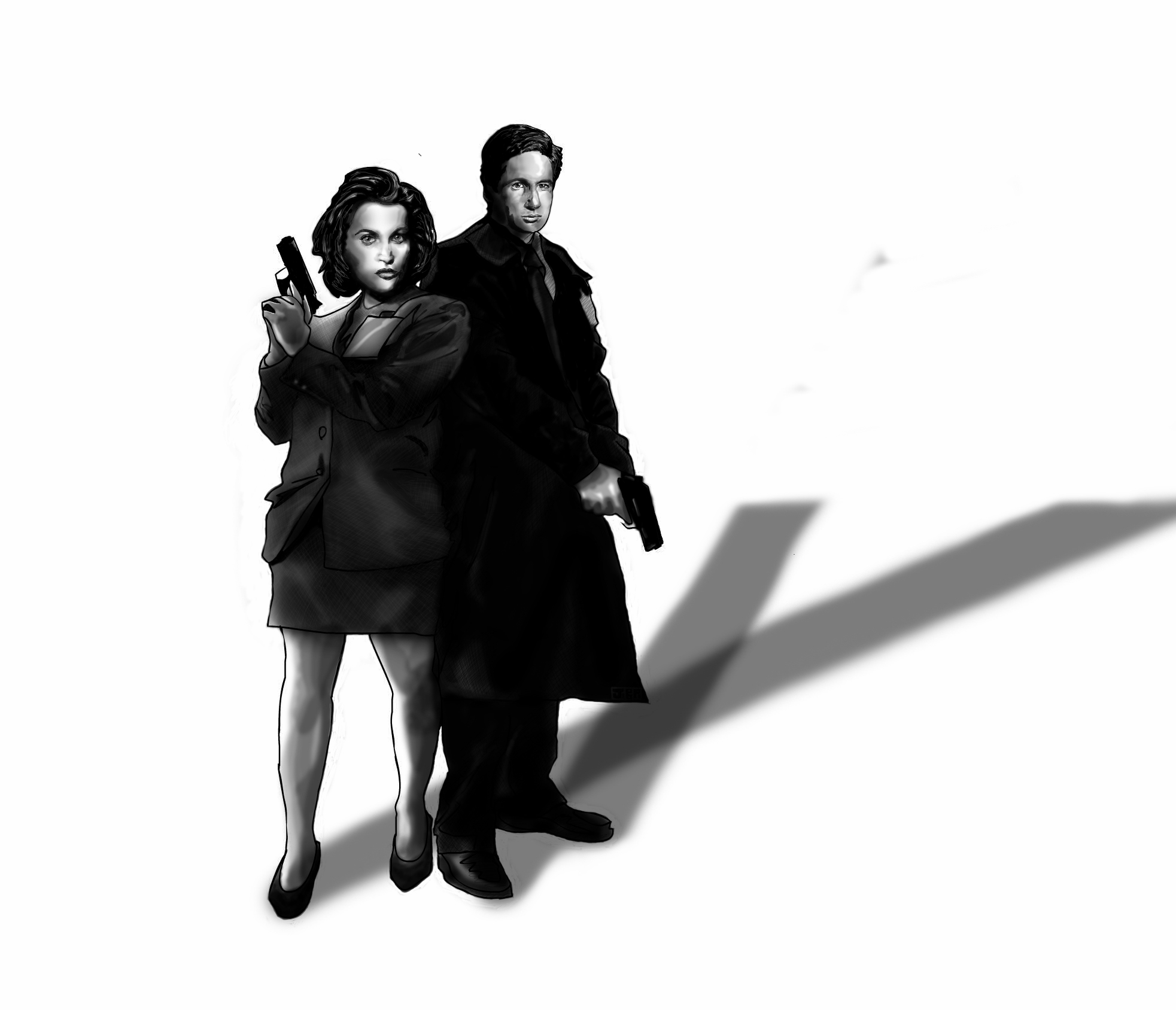 """X Files Mulder & Scully"" 2.5 Hour Sketch - by Jonathan B Perez - cREATive Castle Studios 3"