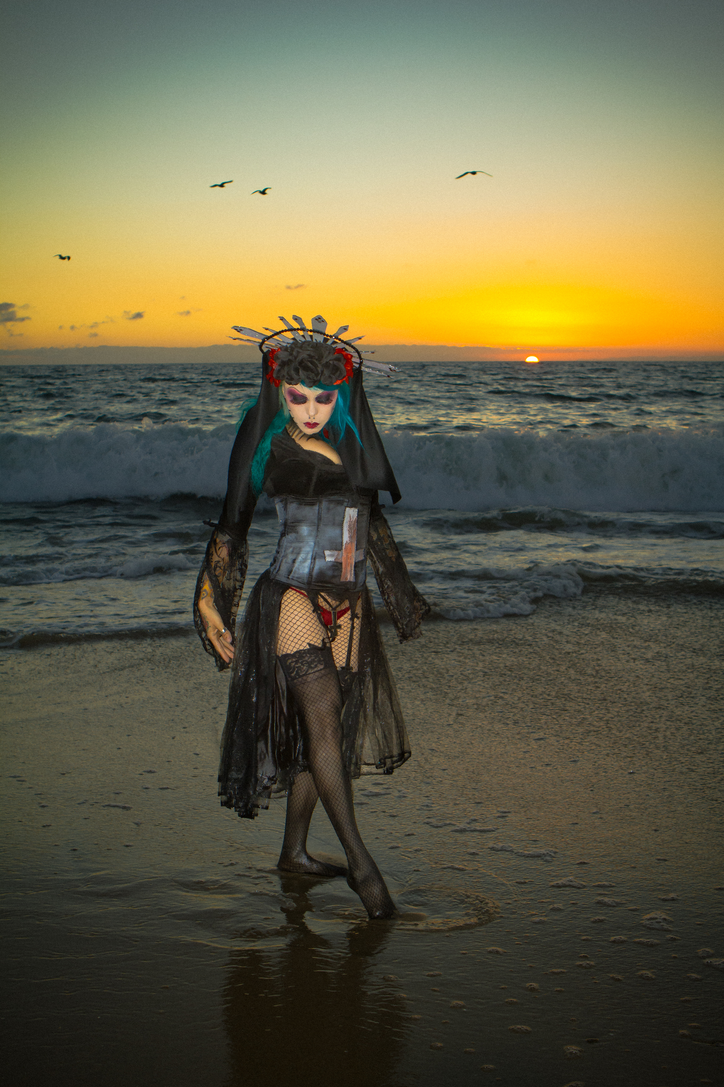 Kitty Rodriguez - Kyle Rea Photography - cREAtive Castle Studios - Goth in the Sunset.jpg
