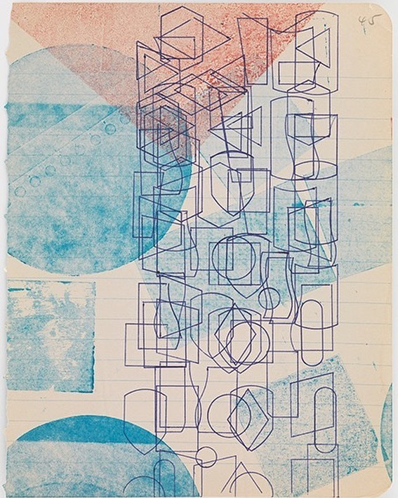 """""""Print with Shapes"""", a monoprint by Austin Thomas @austinthomasartist . #CP18  Check it out October 24th Editions/Artists' Books Fair #magazine  @eabfair #printmaking #contemporaryart #portfolio #monoprint #illustration #fineart #graphicdesign #pcp #papercrownpress #publishing"""